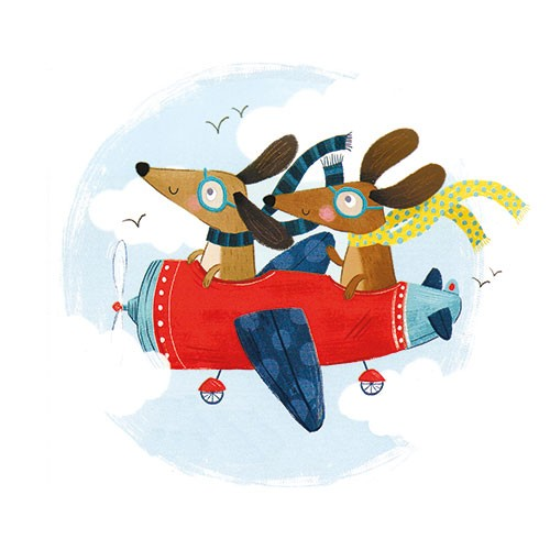 Samara Hardy Illustration - samara, hardy, samara hardy, illustration, photoshop, colour, colourful, digital, commercial, mass market, fiction, cute, sweet, dogs, animals, pets, sausage dogs, travel, plane, flying, aeroplane, birds, sky, clouds, googles, scarfs, adventure