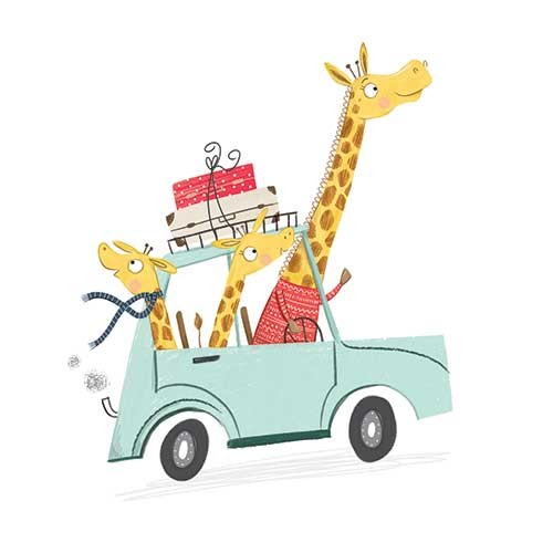 Samara Hardy Illustration - samara, hardy, samara hardy, illustration, photoshop, colour, colourful, digital, commercial, mass market, fiction, cute, sweet, animals, wild, giraffes, family, car, suitcases, travel, driving, happy, excited,