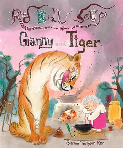 Sienna Kim Illustration - sienna kim, illustrator, handdrawn, pencil, tradition, colour, colourful,  book, cover, characters, granny, woman, old lady, tiger, animal, wild, tea, dinner, soup, cooking, friends, cute, sweet, cook, house, home, pots, pans, oven, kitchen,