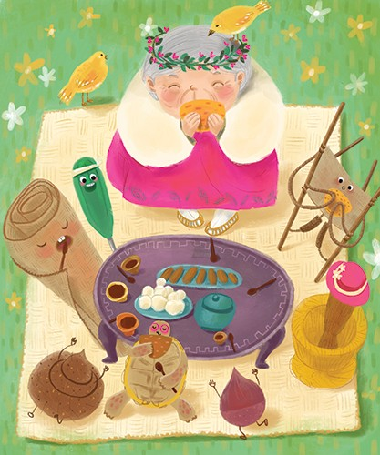 Sienna Kim Illustration - sienna kim, illustrator, handdrawn, pencil, tradition, colour, colourful, woman, character, old, lady, grandmother, food, picnic, garden, animals wild, birds, tortoise, faces, blanket, face, cute, sweet, flowers, nature,