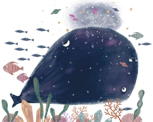 Sienna Kim Illustration - sienna kim, illustrator, handdrawn, pencil, tradition, colour, colourful, underwater, sea, ocean, whale, animals, wild, fish, coral, plants, stars, planets, space, magical, fantasy, magic, spray, blowhole, art, abstract,