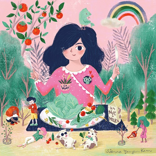 Sienna Kim Illustration - sienna kim, illustrator, handdrawn, pencil, tradition, colour, colourful, character, girl, nature, garden, rainbow, vegetables, tomatoes, lettuce, vegan, plants, people, small, gardening, nut milk, cows, milk, plate, food, natural, trees,