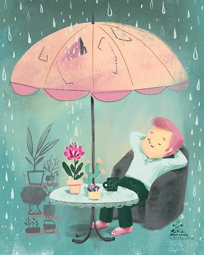 Sienna Kim Illustration - sienna kim, illustrator, handdrawn, pencil, tradition, colour, colourful, character, man, person, rain, raindrops, umbrella, weather, garden, table, nature, plants, cosy, chair, armchair, home, calm, peace,
