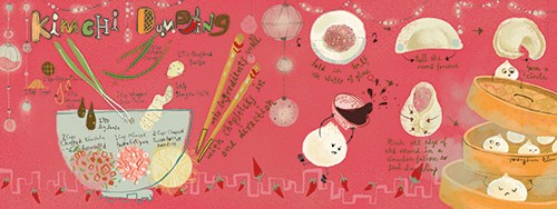 Sienna Kim Illustration - sienna kim, illustrator, handdrawn, pencil, tradition, colour, colourful, food, recipe, cooking, kitchen, cute, sweet, kimchi, bowl, cuisine, asian, asian cuisine, lights, dumplings, bao, faces characters, chopsticks, culture,