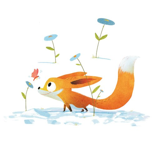 Shahar Kober Illustration - shahar, kober, shahar kober, commercial, picture book, fiction, educational, digital, animals, fox, butterfly, insect, flowers, bright, colourful, cute, sweet, snow, weather, baby
