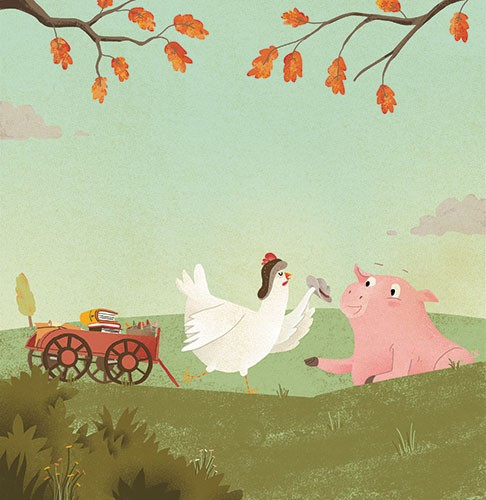 Shahar Kober Illustration - shahar, kober, shahar kober, commercial, picture book, fiction, educational, digital,trade, retro, vintage, textured, printed, animals, autumn, pig, chicken, trailer, books, tree, leaves