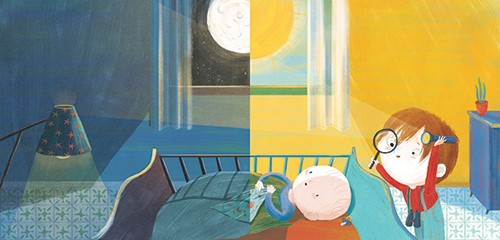 Shahar Kober Illustration - shahar, kober, shahar kober, commercial, picture book, fiction, educational, digital,trade, retro, vintage, textured, printed, nighttime, bedtime, sun, moon, children, bedroom, baby, child, colourful, YA, young reader, cute, sweet