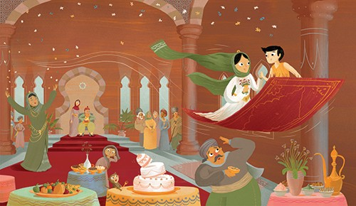 Shahar Kober Illustration - shahar, kober, shahar kober, commercial, picture book, fiction, digital, trade, retro, vintage, textured, fairytale, classics, aladdin, story, carpet, flying, magic, fantasy, man, woman, love, celebration, people, castle, cake, hall, banquet, princess