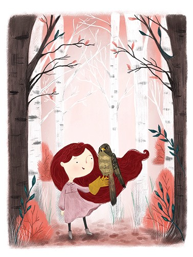 Shelly Laslo Illustration - shelly, laslo, shelly laslo, illustrator, artist, hand drawn, photoshop, digital, texture, colourful, picture book, trade, girl, child, YA, young reader, forest, trees, bird