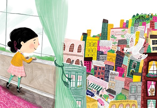 Shelly Laslo Illustration - shelly, laslo, shelly laslo, illustrator, artist, hand drawn, photoshop, digital, texture, colourful, buildings, picture book, trade, girl, child, bird, town, YA, young reader