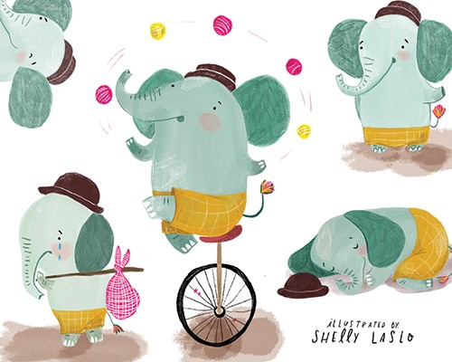 Shelly Laslo Illustration - shelly, laslo, shelly laslo, illustrator, artist, hand drawn, photoshop, digital, texture, colourful, picture book, trade, elephant, animal, cute, sweet, YA, young reader