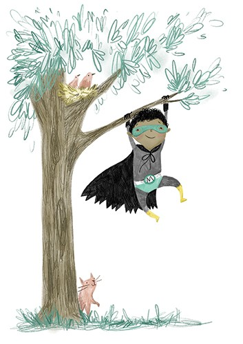 Shelly Laslo Illustration - shelly, laslo, shelly laslo, illustrator, artist, hand drawn, photoshop, digital, texture, colourful, buildings, picture book, trade, boy, child, superhero, fancy dress, tree, outdoors, playing, games, cat,