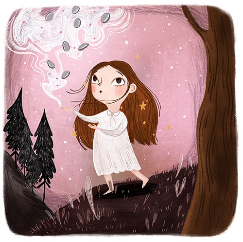 Shelly Laslo Illustration - shelly, laslo, shelly laslo, illustrator, artist, hand drawn, photoshop, digital, texture, colourful, picture book, trade, girl, child, person, figure, character, magic, fantasy, stars, trees, nature, flying, spooky, halloween, seasonal, autumn, fall,