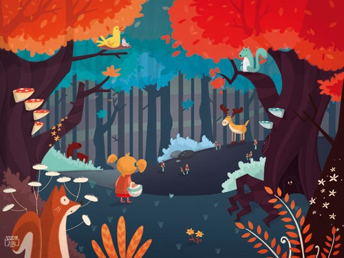 Sara Mateos Illustration - sara, mateos, sara mateos, illustrator, digital, photoshop, YA, young reader, colour, colourful, forest, woods, girl, child, figure, figurative, fox, deer, animals, squirrel, bird, trees, leaves, flowers, mushroom