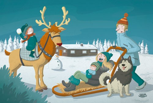 Sara Mateos Illustration - sara, mateos, sara mateos, illustrator, digital, photoshop, YA, young reader, colour, colourful, family, figure, figurative, man, woman, girl, boy, child, children, snow, cold, reindeer, rudolph, seasonal, holidays, house, snowman, sleigh, dog, husky, trees, hat, trees