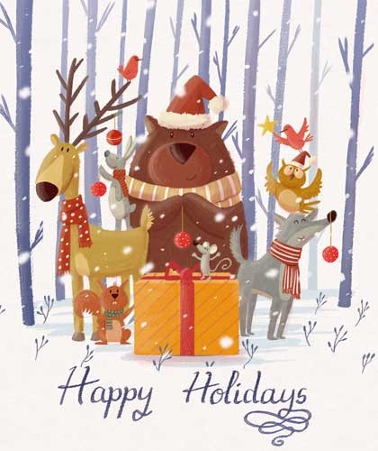 Sara Mateos Illustration - sara, mateos, sara mateos, illustrator, digital, photoshop, YA, young reader, colour, colourful, text, holidays, seasonal, forest, animals, bear, deer, owl, bird, wolf, squirrel, friends, friendship, trees, snowing, present, christmas, decorations