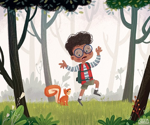Sara Mateos Illustration - sara, mateos, sara mateos, illustrator, digital, photoshop, YA, young reader, colour, colourful, bright,boy, child, person, squirrel, YA, young reader, forrest, trees, humour, funny, cute, sweet