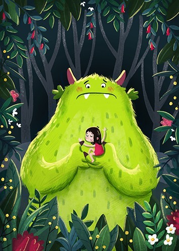 Sara Mateos Illustration - sara, mateos, sara mateos, illustrator, digital, photoshop, YA, young reader, colour, colourful, bright, girl, monster, fluffy, hug, cuddle, friends, fantasy