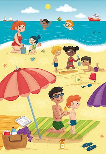 Sara Mateos Illustration - sara, mateos, sara mateos, illustrator, digital, photoshop, YA, young reader, colour, colourful, bright, activity, beach, day out, outing, family, playing, sunshine, summer, sand, sea, water, towels, umbrella, boy, man, children, people, sand castles, fam