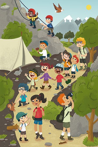 Sara Mateos Illustration - sara, mateos, sara mateos, illustrator, digital, photoshop, YA, young reader, colour, colourful, bright, boys, girls, children, hiking, hike, mountains, nature, outdoors, trees, path, tent, birds, sun, binoculars, adventure