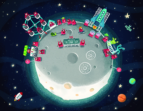 Sara Mateos Illustration - sara, mateos, sara mateos, illustrator, digital, photoshop, YA, young reader, colour, colourful, bright, space, aliens, fantasy, moon, fairground, ferris wheel, cute, fun, silly, monsters, happy, smile, stars, night,