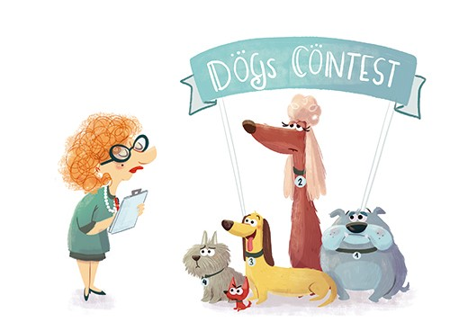 Sara Mateos Illustration - sara, mateos, sara mateos, illustrator, digital, photoshop, YA, young reader, colour, colourful, bright, person, contest, dogs, dog show, numbers, competition, clipboard, judge,