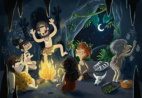Sara Mateos Illustration - sara, mateos, sara mateos, illustrator, digital, photoshop, YA, young reader, colour, colourful, bright, historical, funny, caveman, prehistoric, caveman, fire, nature, wild, cave, men, woman, baby, people, figures, jungle, leaves, plants, skeleton. dance