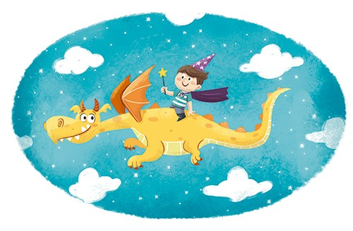 Sara Mateos Illustration - sara, mateos, sara mateos, illustrator, digital, photoshop, YA, young reader, colour, colourful, bright, fantasy, boy, child, magic, dragon, flying, sky, clouds, stars, wand, hat, wizard,