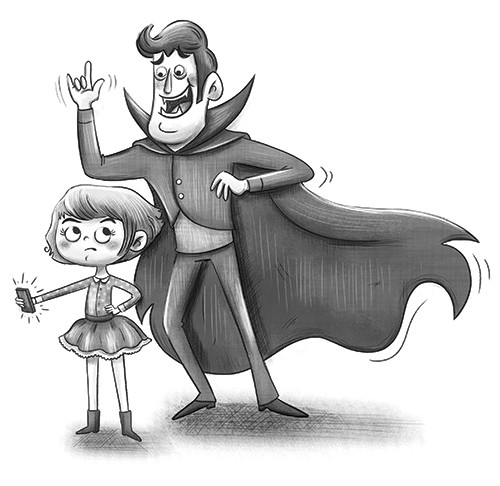 Sara Mateos Illustration - sara, mateos, sara mateos, illustrator, digital, photoshop, YA, young reader, black and white, b & w, fantasy, vampire, family, father, daughter, phone, cape, fangs, dracula, halloween, spooky, fun