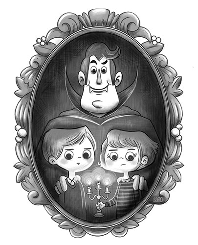 Sara Mateos Illustration - sara, mateos, sara mateos, illustrator, digital, photoshop, YA, young reader, black and white, b & w, fantasy, vampire, family, father, daughter, son, portrait, cape, fangs, dracula, halloween, spooky, fun, candle
