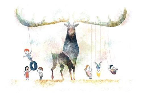 Stephen Hogtun Illustration - stephen, hogtun, stephen hogtun, drawing, paint, pen, pencil, trade, traditional, commercial, picture book, picturebook, colour, fantasy, fantasy world, animals, animal, stag, deer, child, boy, girl, boys, girls, children, playing, swing, singing, tyre sw
