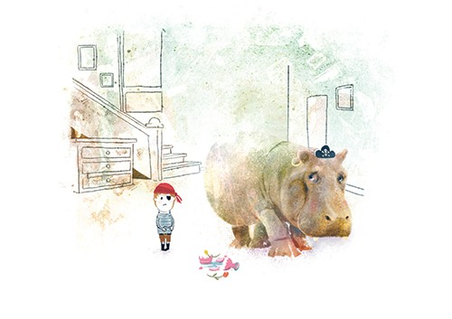 Stephen Hogtun Illustration - stephen, hogtun, stephen hogtun, drawing, paint, pen, pencil, trade, traditional, commercial, picture book, picturebook, colour, fantasy, fantasy world, animal, hippo, hippopotamus, dress up, dressing up, make believe, fun, boy, child, pirate, pirates, ho