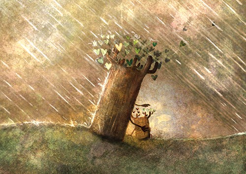 Stephen Hogtun Illustration - stephen, hogtun, stephen hogtun, drawing, paint, pen, pencil, trade, traditional, commercial, picture book, picturebook, colour, tree, flower, outside, outdoors, sweet, hearts, nature, rain, raining, family, love, trees, hug, hugging
