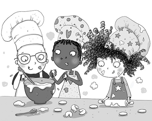 Sernur Isik Illustration - sernur, isik, illustrator, photoshop, illustrator, character, vector, picturebook, trade, YA, young reader, black and white, b+w, children, cooking