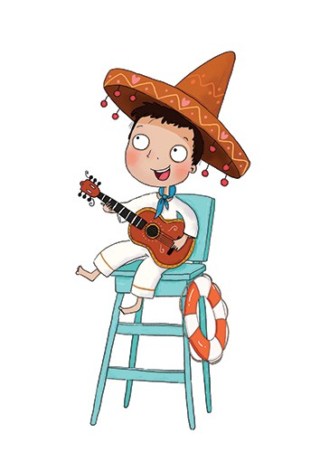 Sernur Isik Illustration - sernur, isik, illustrator, photoshop, illustrator, character, vector, picturebook, trade, YA, young reader, boy, child, person, guitar, hat, sombrero, cute, sweet