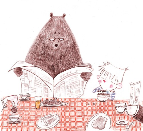 Sara Sanchez Illustration - sara sanchez, traditional, drawing, trade, commercial, picture book, animals, bears, children, boys, dinner