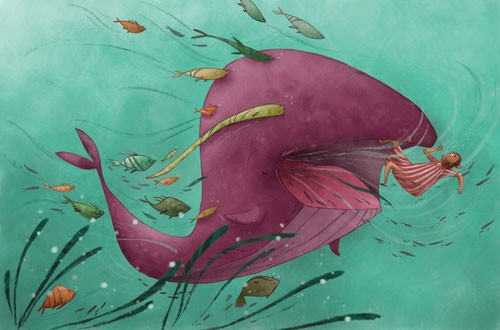 Simona Sanfilippo Illustration - simona, sanfilippo, simona sanfilippo, commercial, picture book, fiction, educational, digital, paint, painted, acrylic, animals, whale, fish, man, figure, person, water, ocean, sea, colour, colourful, YA, young reader