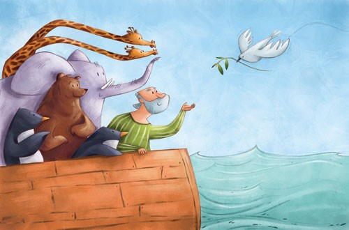 Simona Sanfilippo Illustration - simona, sanfilippo, simona sanfilippo, commercial, picture book, fiction, educational, digital, paint, painted, acrylic, YA, young reader, bible, ocean, sea, boat, noah, ark, animals, person, figure, man, dove, giraffe, elephant, bear, penguin,