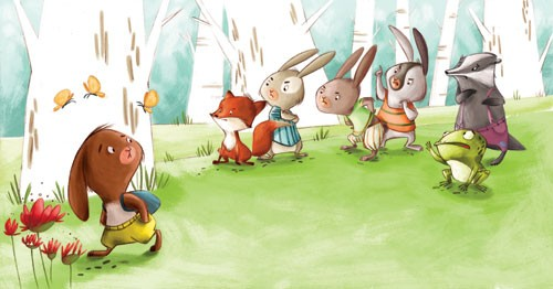 Simona Sanfilippo Illustration - simona, sanfilippo, simona sanfilippo, commercial, picture book, fiction, educational, digital, paint, painted, rabbits, animals, woods, forest, trees, leaves, grass, friends, friendship, frog, colour, colourful, butterflies, butterfly, insect, fox