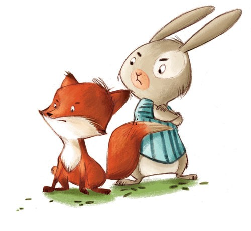 Simona Sanfilippo Illustration - simona, sanfilippo, simona sanfilippo, commercial, picture book, fiction, educational, digital, paint, painted, acrylic, rabbit, fox, animals, cute, sweet,  YA, young reader , colourful, colour, bright , friends, friendship