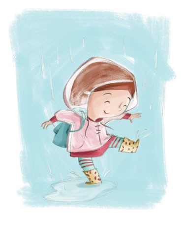 Simona Sanfilippo Illustration - simona, sanfilippo, simona sanfilippo, commercial, picture book, fiction, educational, digital, painterly, photoshop, illustrator,  girl, dancing, rain, jacket, weather, happy, boots, puddle