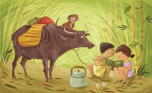 Simona Sanfilippo Illustration - simona, sanfilippo, simona sanfilippo, commercial, picture book, fiction, educational, digital, paint, painted, acrylic, YA, young reader, animals, cow, monkey, children, child, person, people, girl, boy, figures, figurative, jungle, tea, book, reading, b