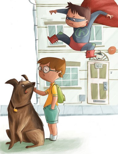 Simona Sanfilippo Illustration - simona, sanfilippo, simona sanfilippo, commercial, picture book, fiction, educational, digital, painterly, photoshop, illustrator, super, hero, boy, costume, flying, dog, pet, glasses, street