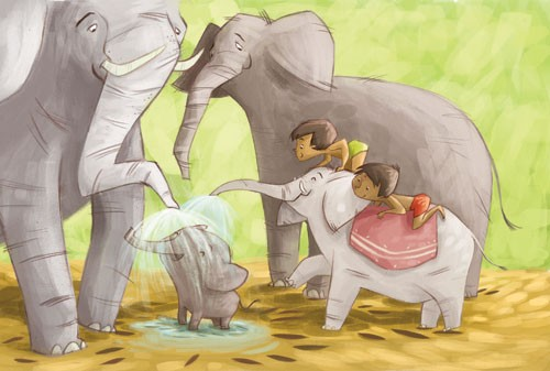 Simona Sanfilippo Illustration - simona, sanfilippo, simona sanfilippo, commercial, picture book, fiction, educational, digital, paint, painted, acrylic, YA, young reader, cute, sweet, animals, elephant, elephants, boy, child, person, figure, figurative, jungle, water, play, play time, p