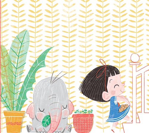 Sara Sanchez Illustration - sara sanchez, sara, sanchez, digital, texture, photoshop, illustrator, trade, commercial, mass market, picture book, ella, elephant, girl, pet, animals, stairs, home, wallpaper,