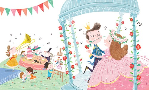 Sara Sanchez Illustration - sara sanchez, sara, sanchez, digital, texture, photoshop, illustrator, trade, commercial, mass market, picture book, fairytale, classics, beauty and the beast, wedding, family, music, trumpet, dancing, princess, prince, flowers, table, party, celebration