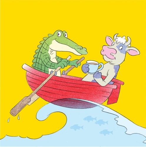 Stuart Trotter Illustration - stuart trotter, stuart, trotter, traditional, paint, painted, digital, commercial, fiction, picture book, picturebook, educational, comics, animals, cow, crocodile, cows, crocodiles, alligators, boat, ocean, sea, water, fish