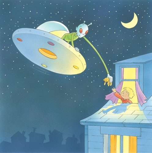 Stuart Trotter Illustration - stuart trotter, stuart, trotter, traditional, paint, painted, digital, commercial, fiction, picture book, picturebook, educational, comics, children, people, boys, space, aliens, night