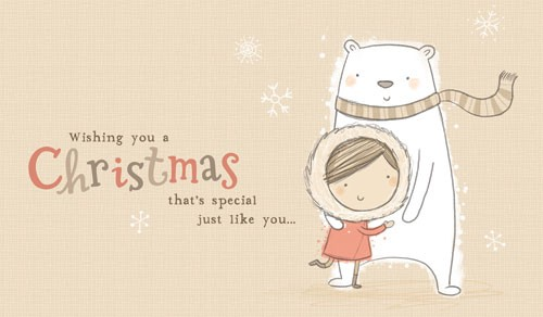 Sarah Ward Illustration - greetings cards, sarah ward, sarah, ward, novelty, picture book, digital, young, sweet, commercial, educational, activity, animals, collage, pencil, christmas, polar bears, polarbears, snow, snowing, people, children, girls, winter