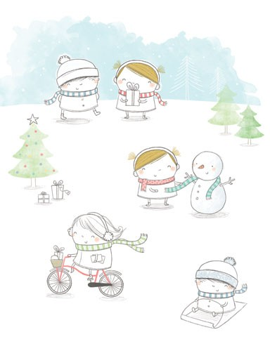 Sarah Ward Illustration - sarah ward, sarah, ward, novelty, picture book, digital, young, sweet, commercial, educational, activity, people, children, boys, girls, winter, snow, snowing
